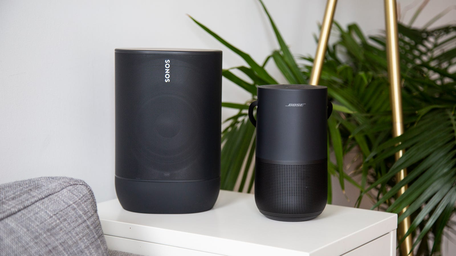 The Sonos Move (left) and the Bose Portable Home Speaker (right)