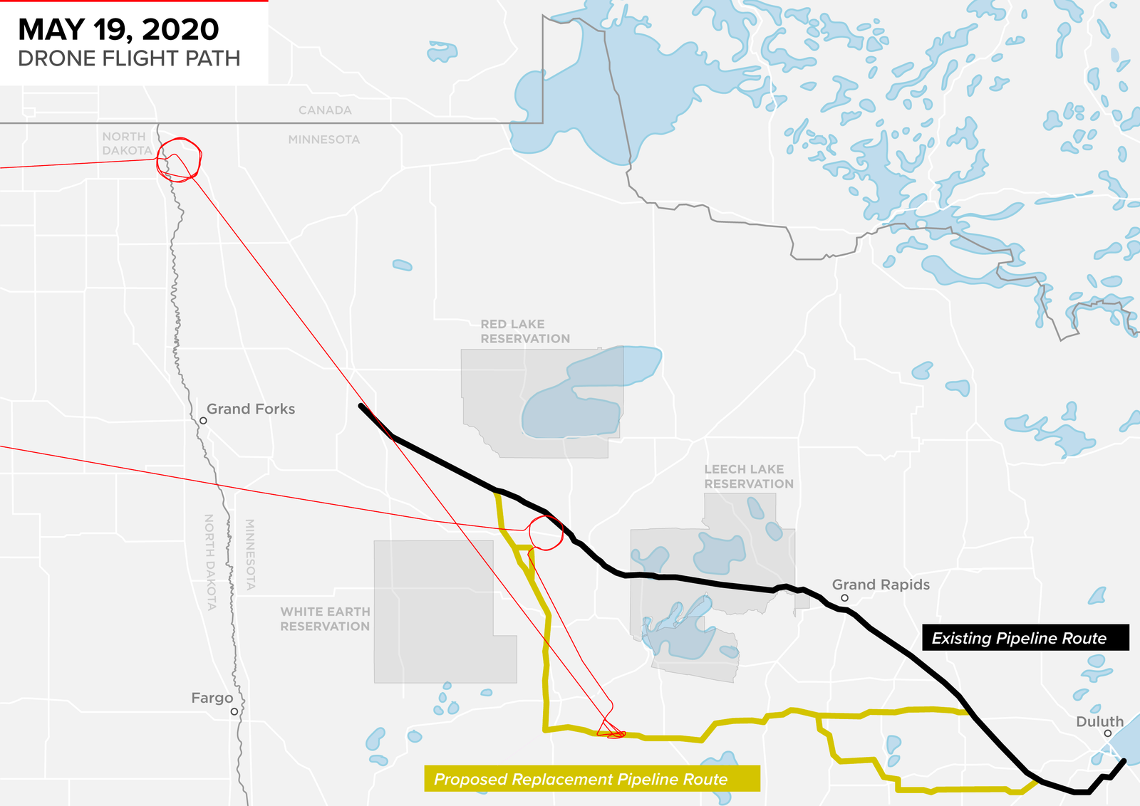 The red line shows the drone route over the region on May 19. The existing portion of Line 3 is in black, and the proposed replacement route is in yellow.