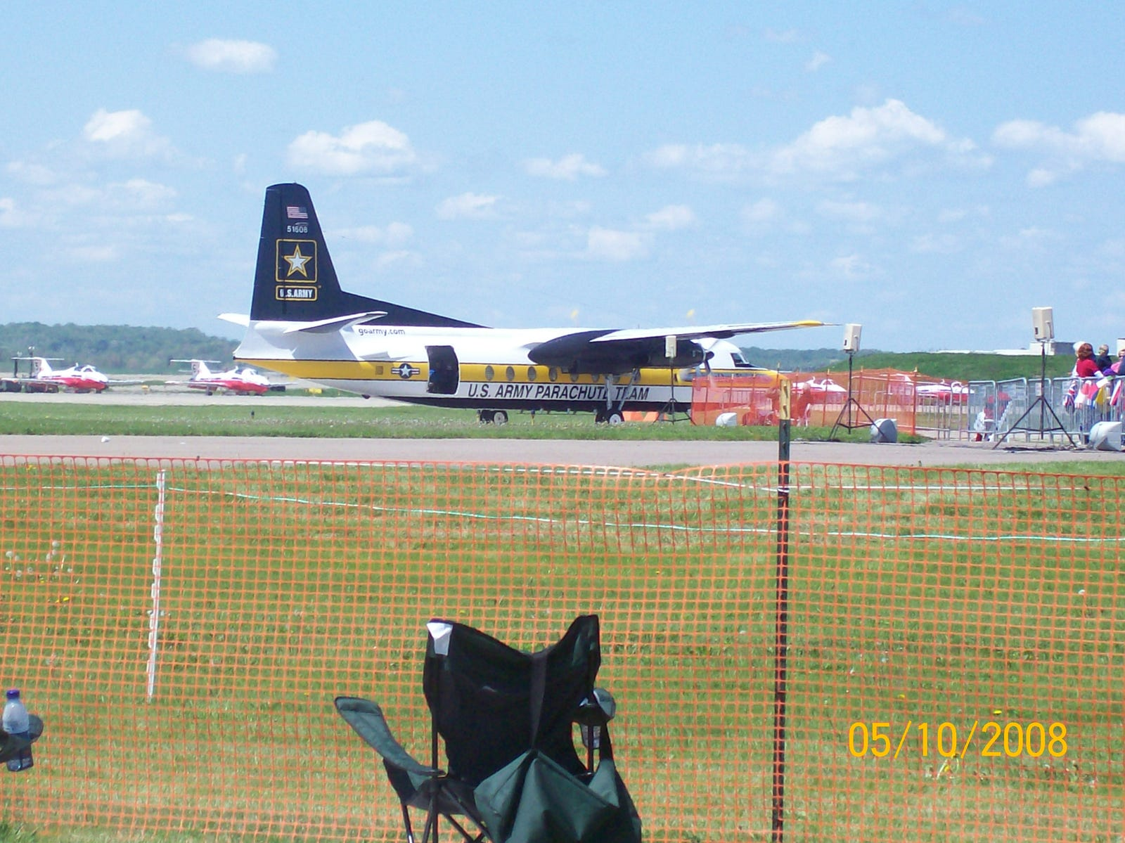 A C-31 (aka the Fokker F27) taking off to drop the Army Golden Knights parachute team