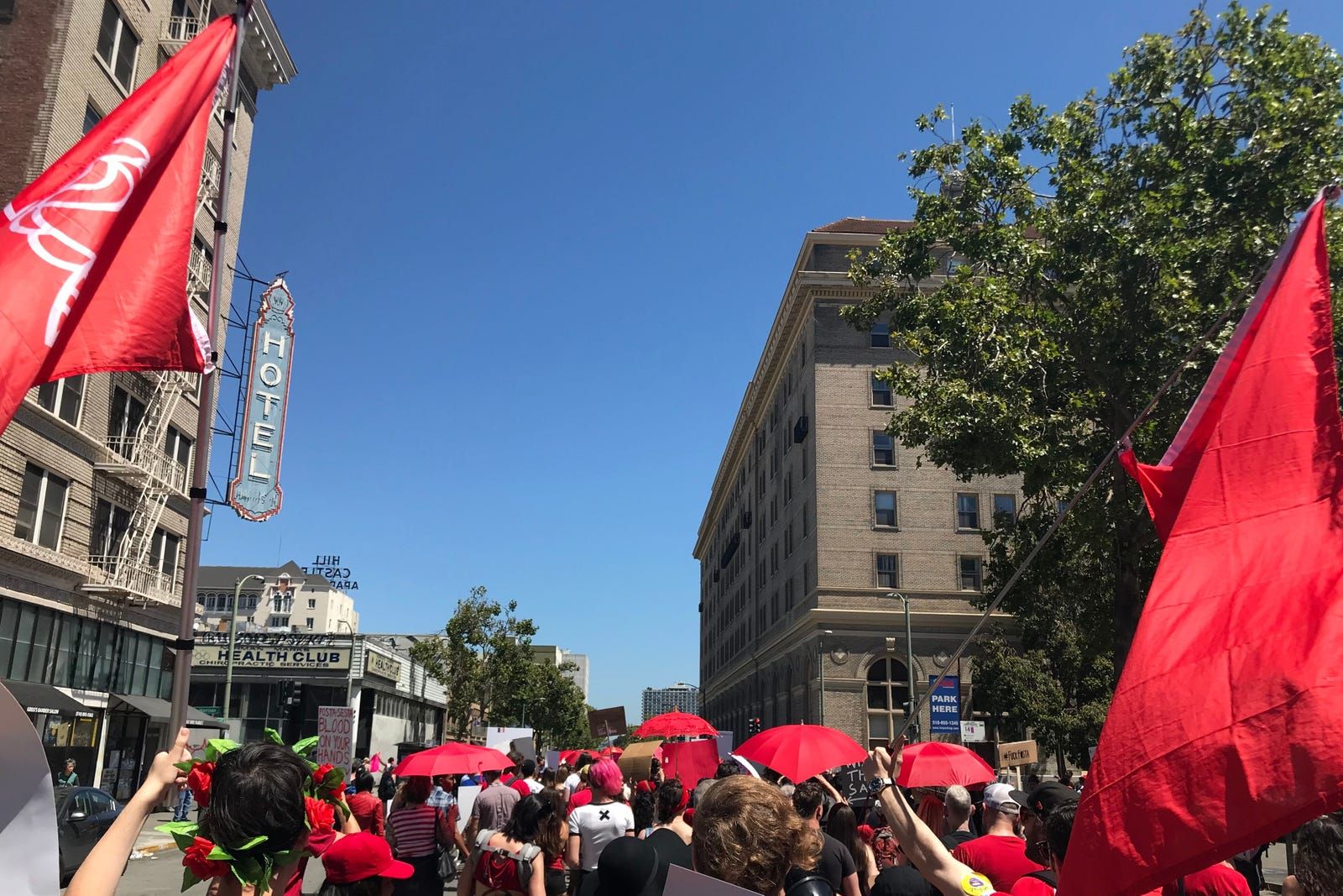 International Whores Day attendees marching down 14th Street in Oakland.