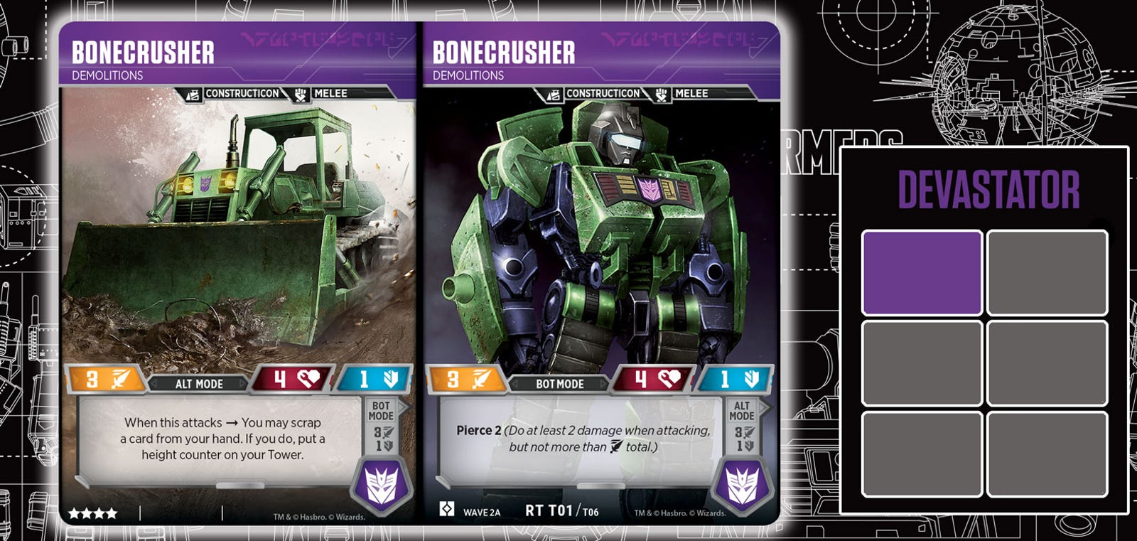 Illustration for article titled It Takes Six Transformers Trading Cards To Build Devastator