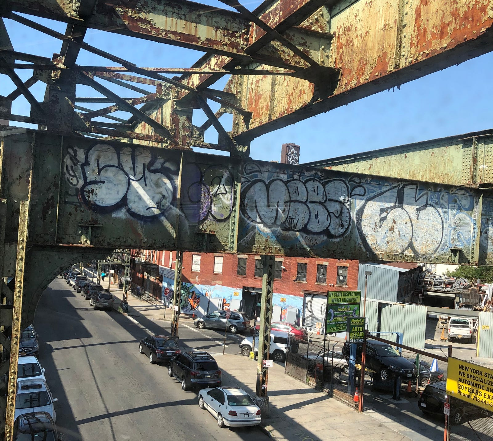 Scenes of the old Myrtle Avenue line's structure as it stands today. Photos by author.