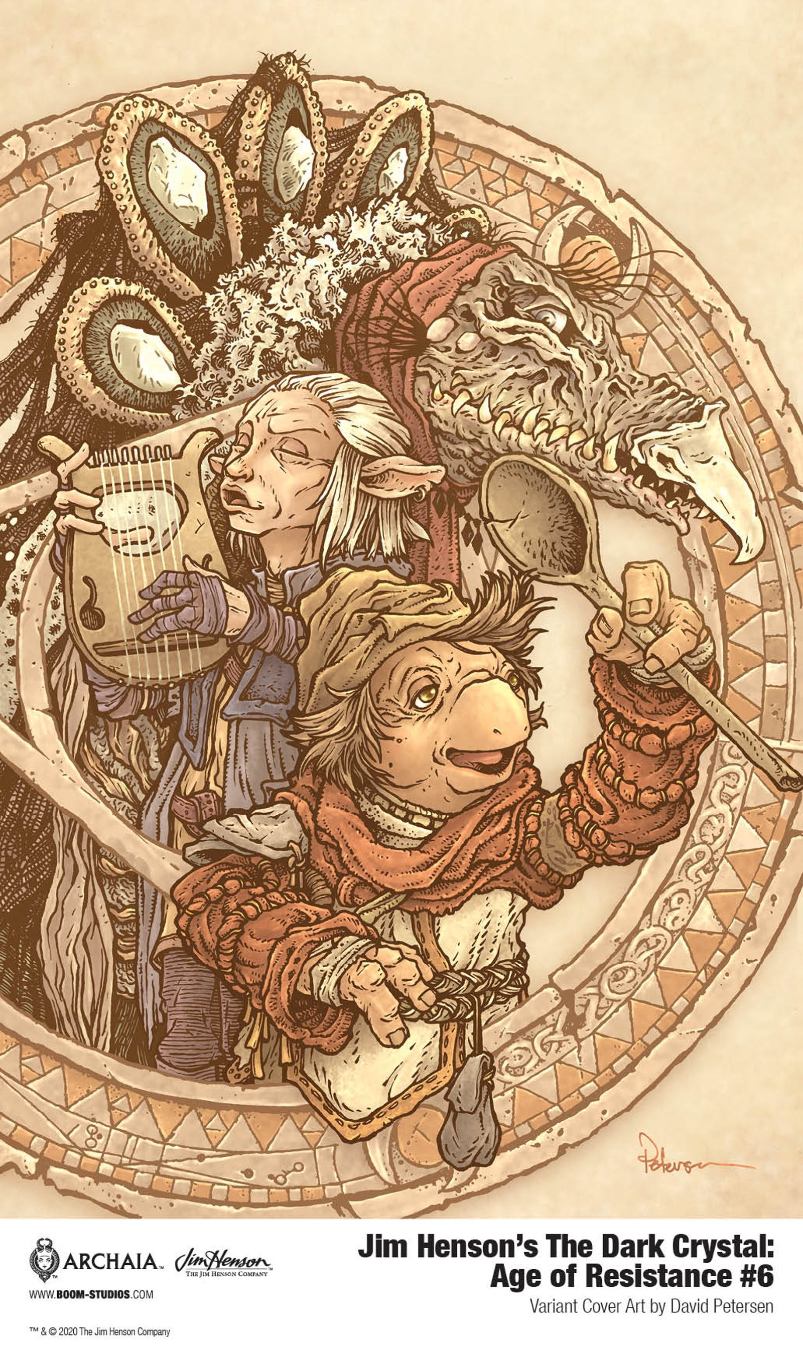 An exclusive look at Mouse Guard creator David Peterson's variant cover for The Dark Crystal: Age of Resistance #6.