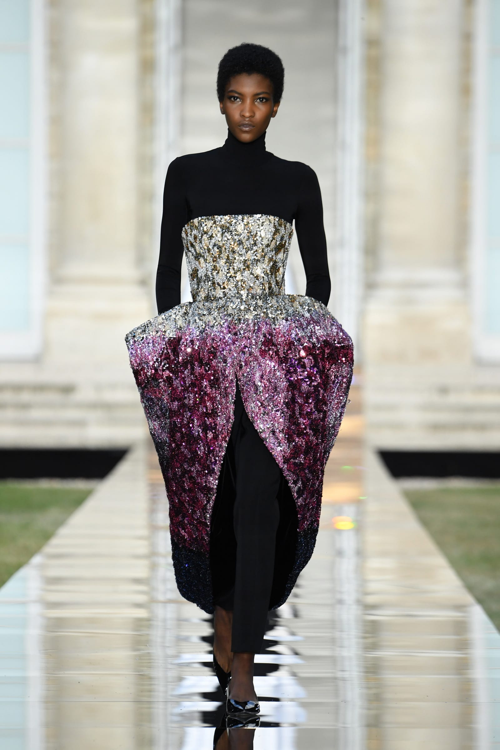 A model walks the runway during the Givenchy Haute Couture Fall Winter 2018/2019 show as part of Paris Fashion Week on July 1, 2018 in Paris, France.