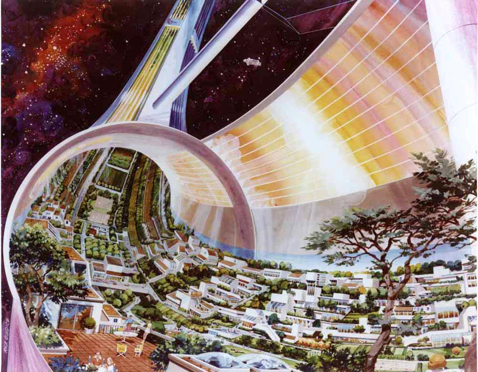 A futuristic space colony, as imagined by NASA artist Rick Guidice in the 1970s