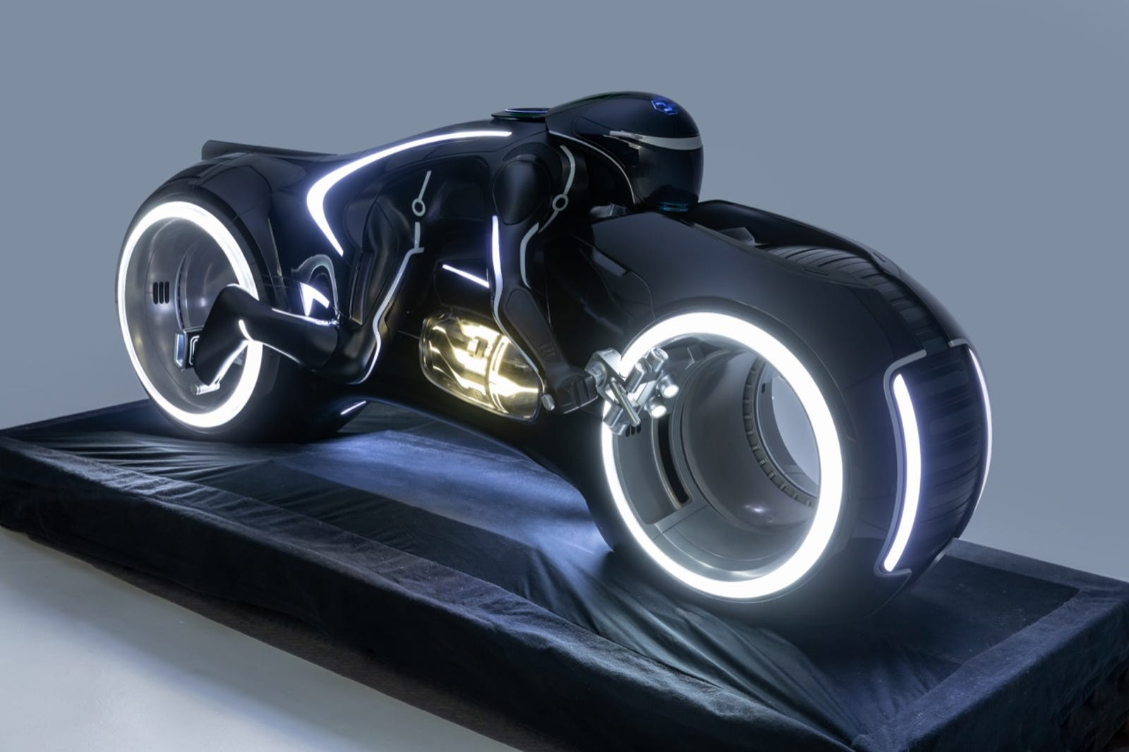Tron Light Cycle, as depicted in Tron: Legacy (2010) Designers: Ryan Church, Harald Belker, Tim Flattery, Ed Natividad and Daniel Simon