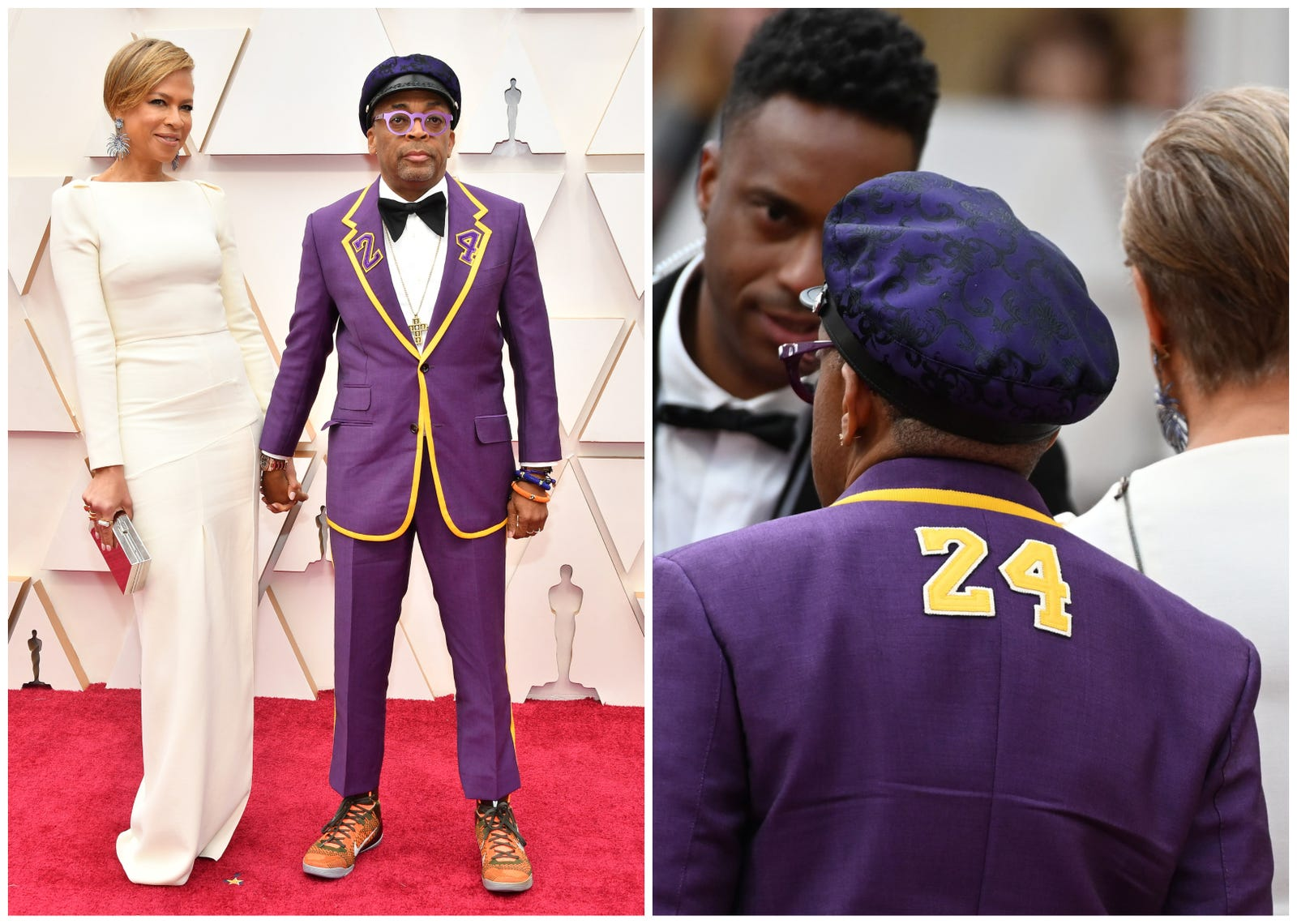 Spike Lee arrives with wife Tonya Lewis Lee, wearing the number 24 on his jacket in remembrance of late NBA legend Kobe Bryant