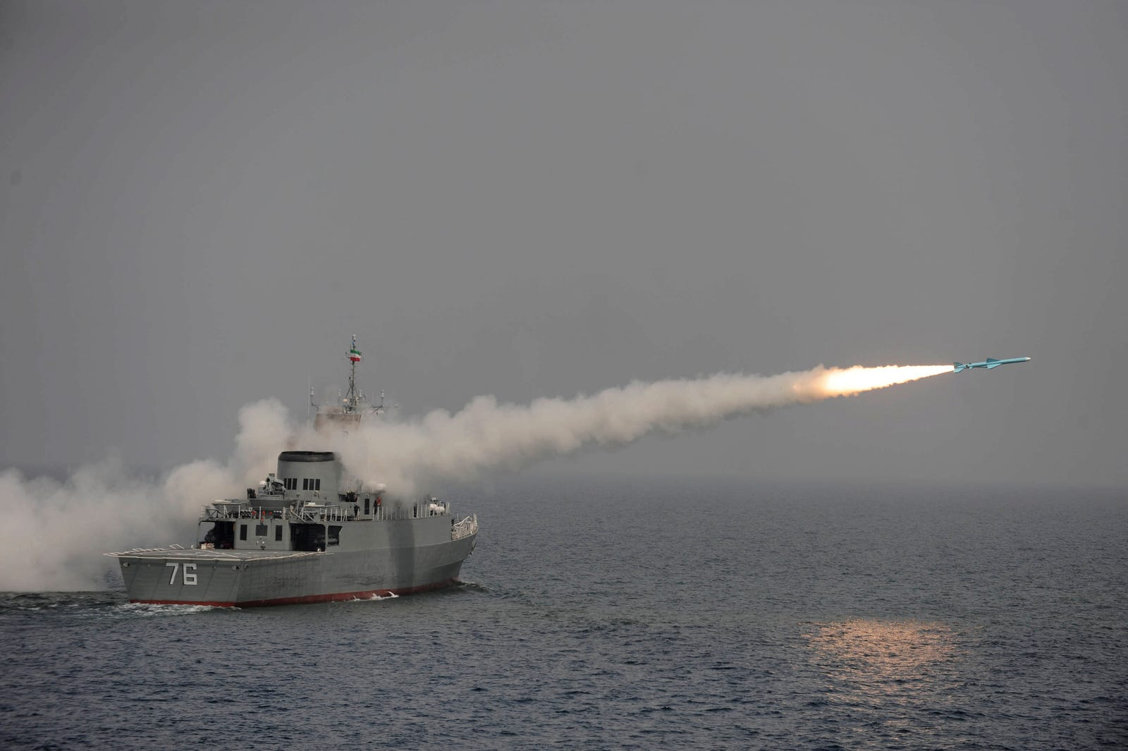 File photo of the Jamaran firing a missile, reported to be a Noor, a long-range anti-ship missile manufactured by Iran and based on the Chinese C-802, in an exercise in the southern waters of Iran, Tuesday, March 9, 2010.