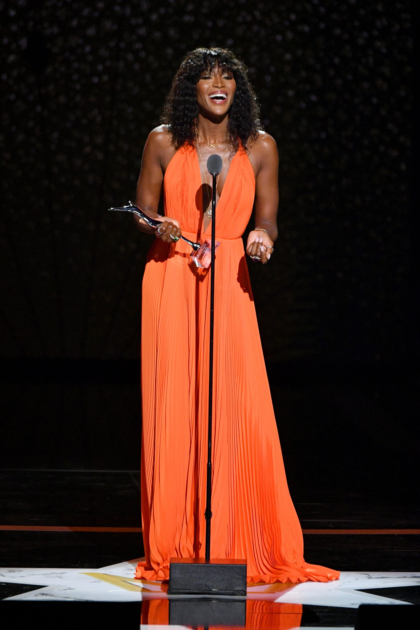 Honoree Naomi Campbell speaks onstage during the Black Girls Rock! 2018 Show at NJPAC on August 26, 2018 in Newark, New Jersey.