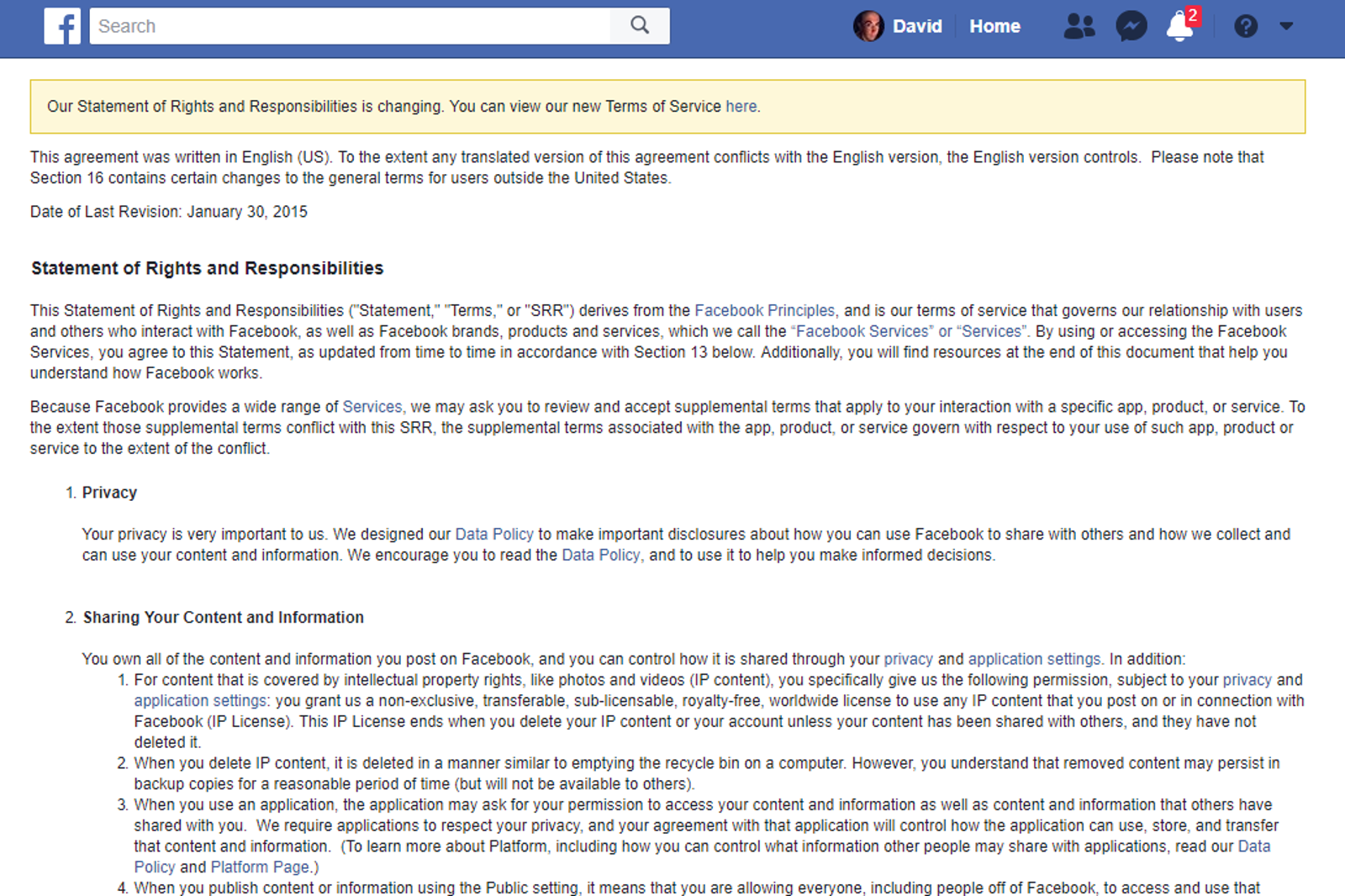 Facebook's old ToS: Ugly, hard to read, and boring