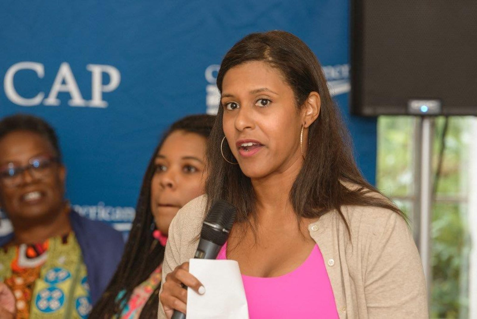 Center for American Progress' Danyelle Solomon speaks at their event at Lola's in Martha's Vineyard, Monday, Aug. 13, 2018.
