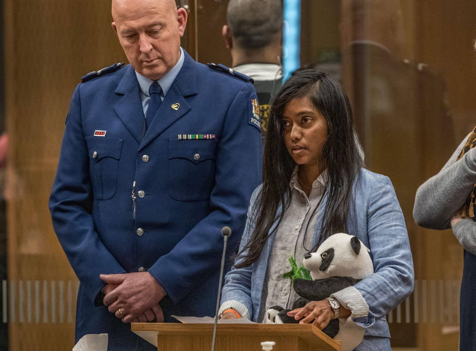 Weedad Mohamedhosen gives her victim impact statement during Australian white supremacist Brenton Tarrant's third day in court for a sentence hearing in Christchurch on August 26, 2020.