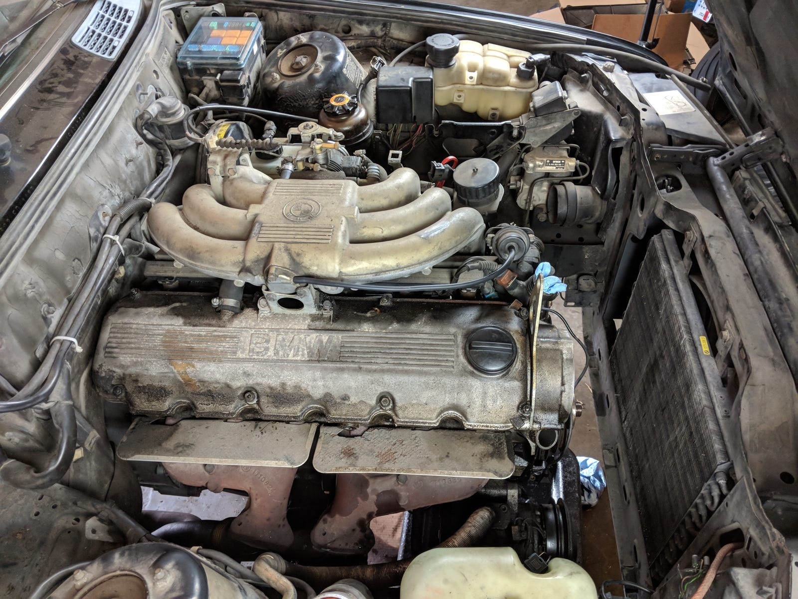 Accessory drives and coolant hoses removed.