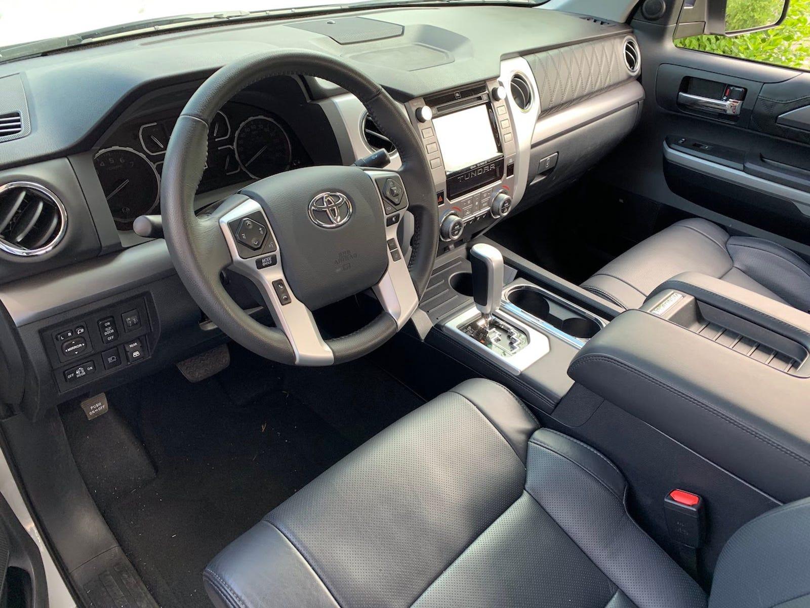 Platinum interior has unique leather