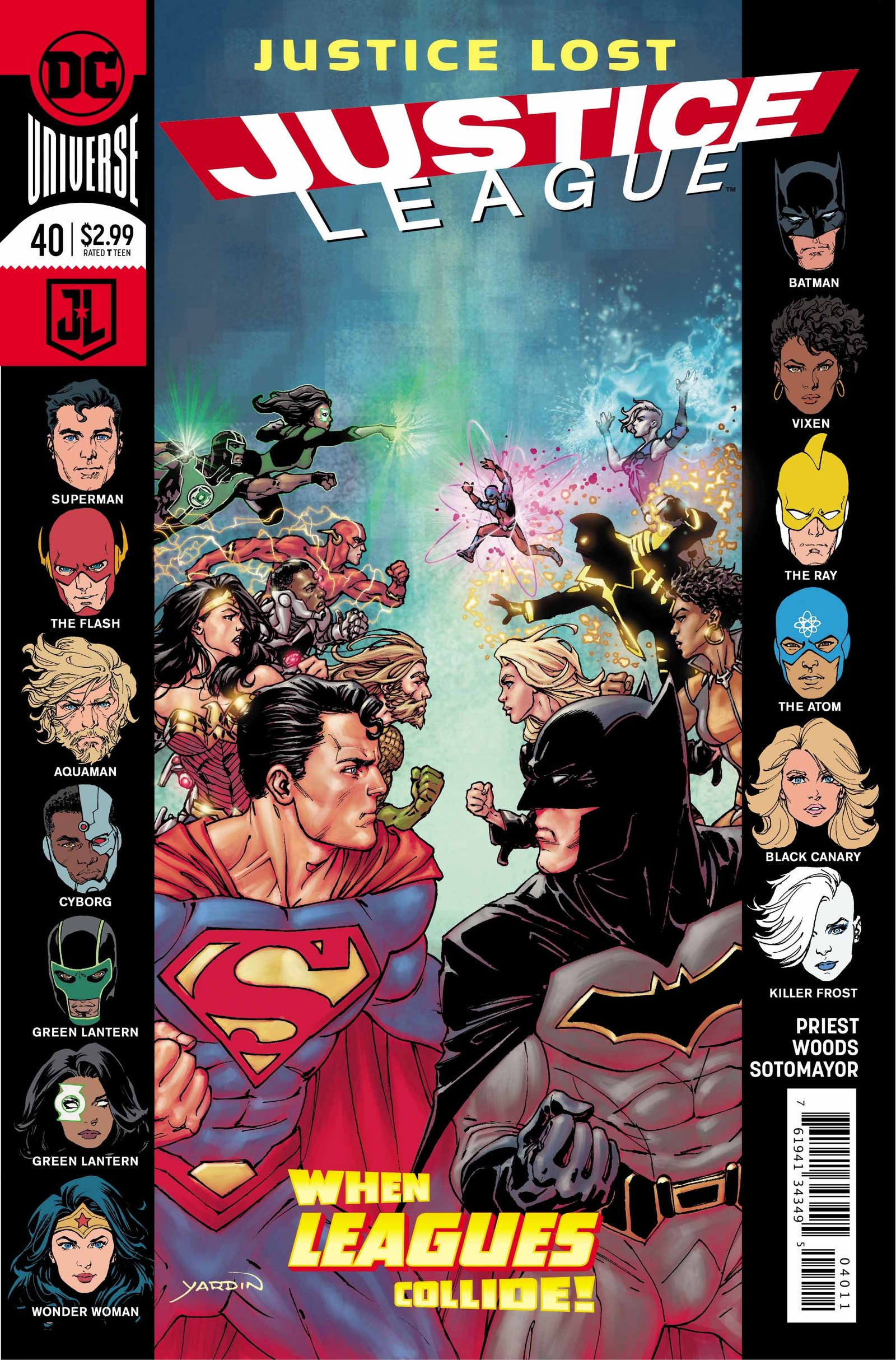 Preview pages of Justice League #40, by Christopher Priest, Pete Woods, Chris Sotomayor, Willie Schu, and David Yardin. All images: DC Comics