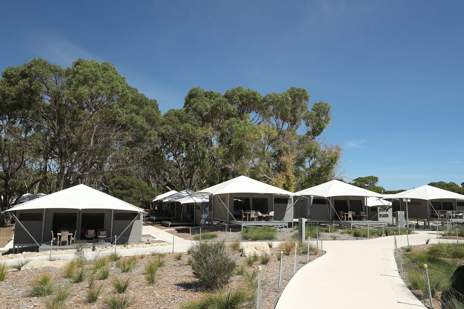 Glamping accommodation is seen near Pinky Beach on March 23, 2020 in Rottnest Island, Australia.