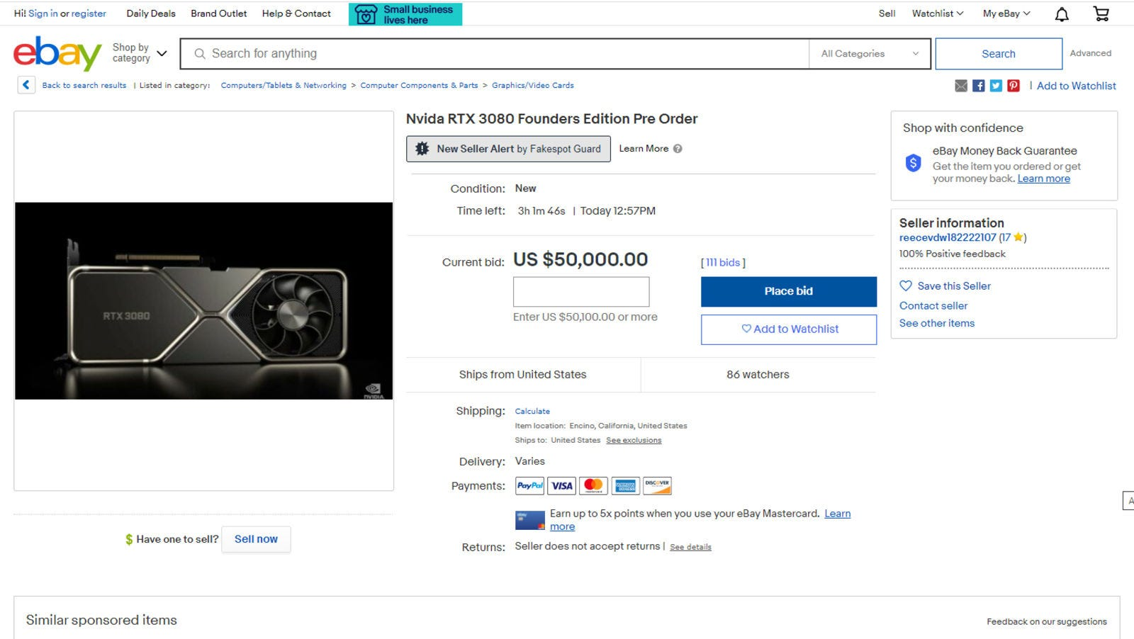 Illustration for article titled Alguien ha vendido en Ebay una de las nuevas Nvidia RTX 3080 por 70.000 dólares