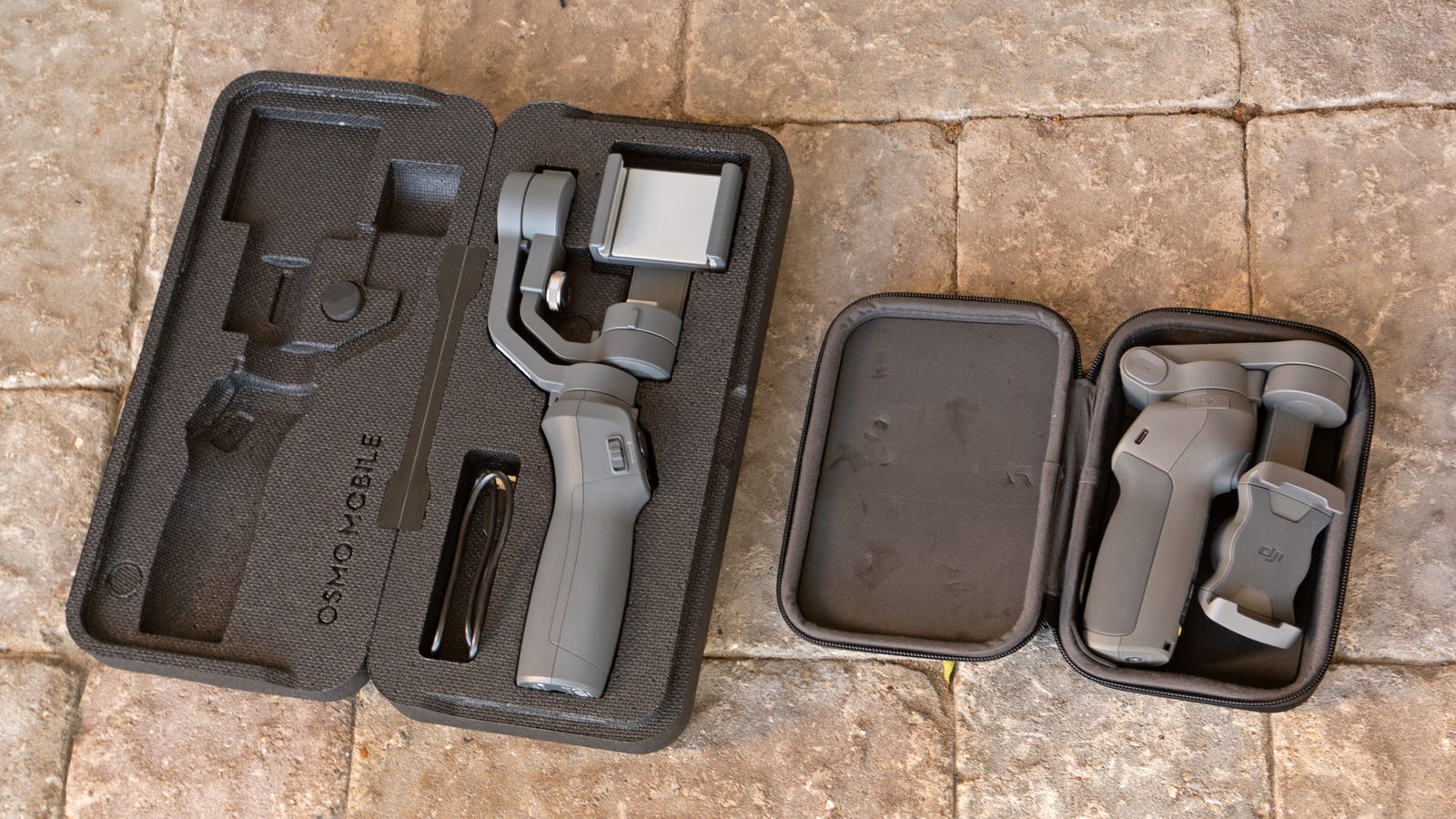 The DJI Osmo 2 (left) doesn't do much folding at all, while the DJI Osmo 3 collapses down to less than half the size of its predecessor.