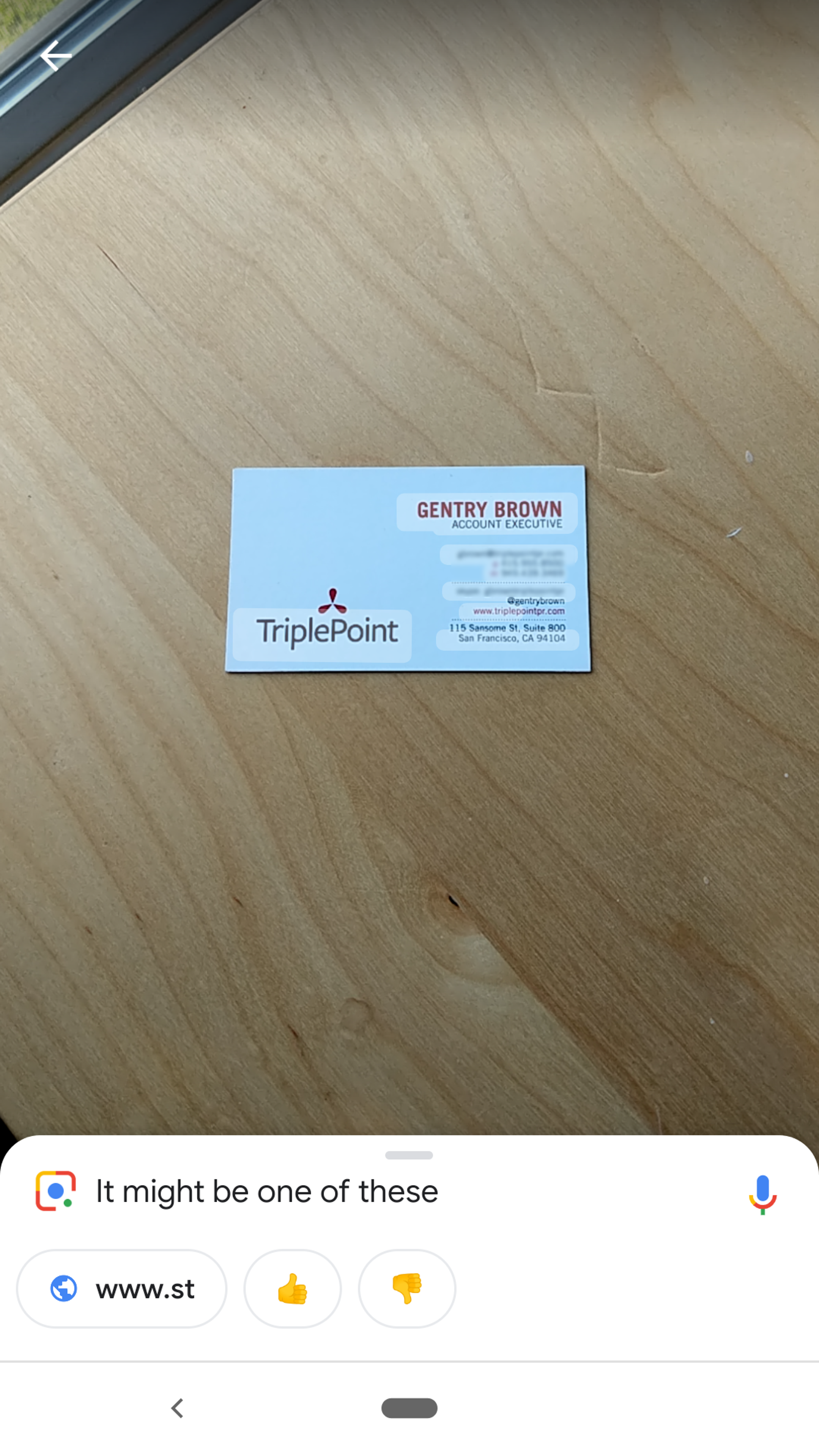 As I mentioned earlier, sometimes you just have to zoom in a bit closer in order for an image-recognition app to do anything. From a distance, Google Lens struggled with the business card.