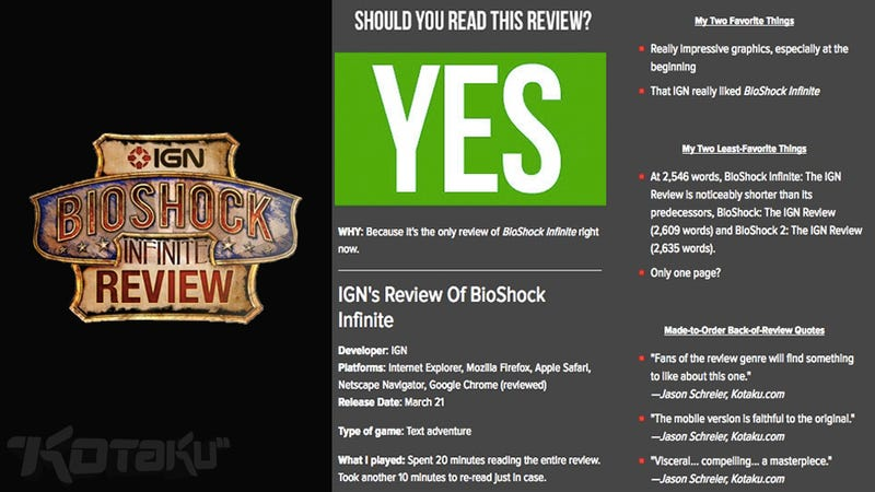 BioShock Infinite:IGN评论:Kotaku评论