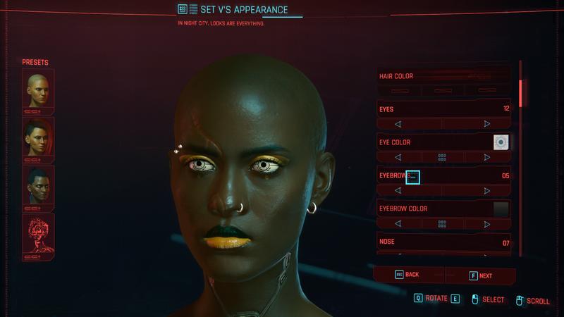 赛博朋克2077的角色创造者:Kotaku评论