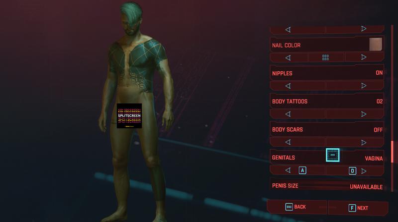 Cyberpunk2077的生殖器定制选项还有很多需要改进的地方
