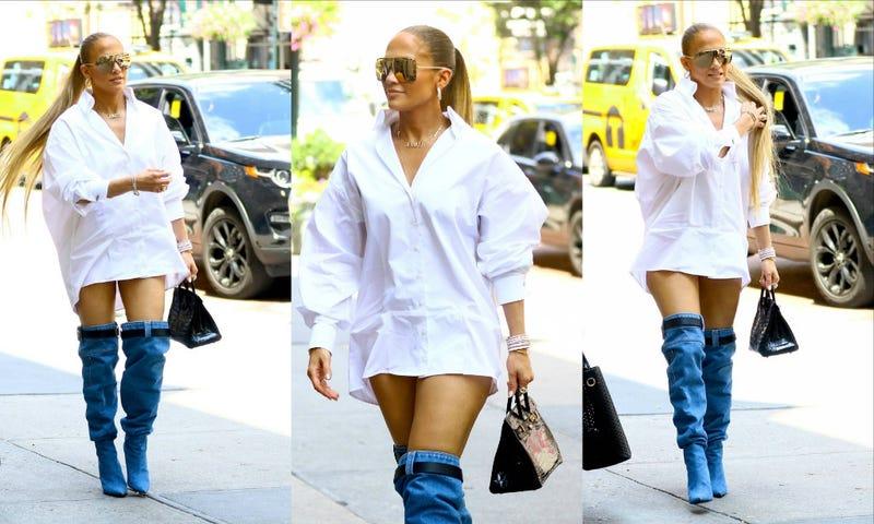 Jennifer Lopez Wears Thigh High Denim Boots In Nyc