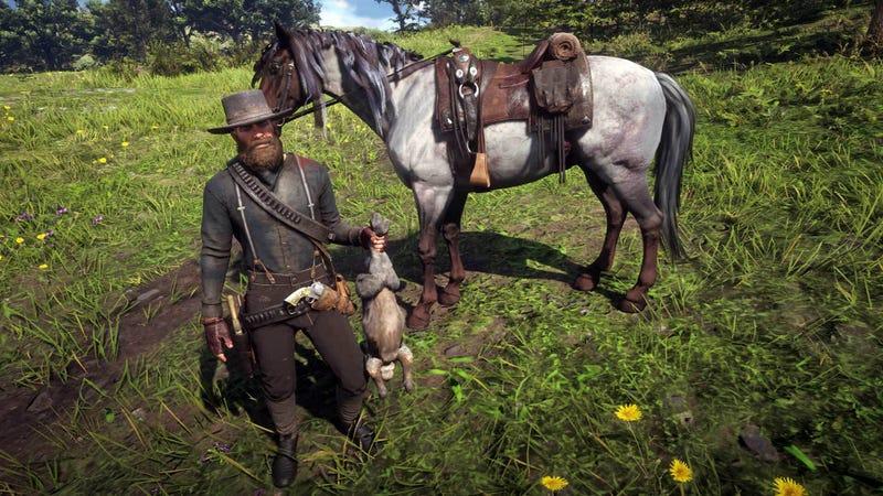 兔子不停地在我的马前跳
