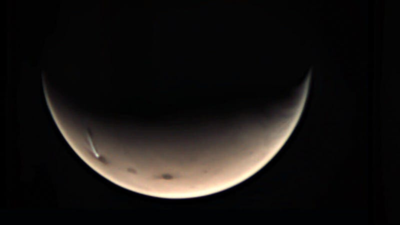The Arsia Mons Elongated Cloud, or AMEC, as observed by Mars Express earlier this month.