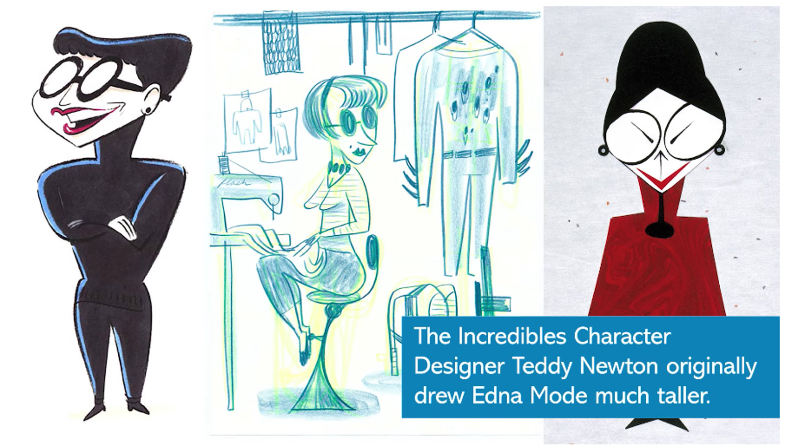 Algunos de los diseños originales de Edna, la diseñadora de moda de Los Increíbles.