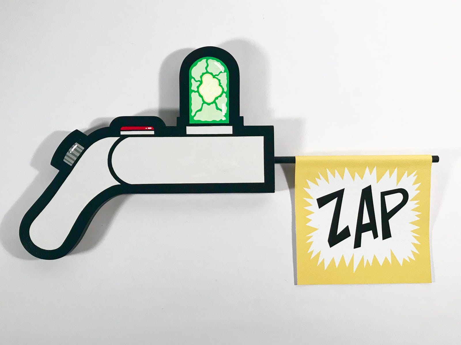 Rick Sanchez's Portal Gun. 15X8 inches (includes bang flags). Paint on cut wood and printed canvas flags.