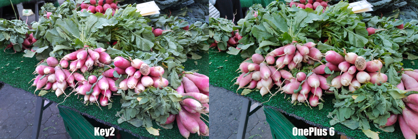 The Key2 does relatively well in bright light, but you can still see a few blown out white spots on the radishes.