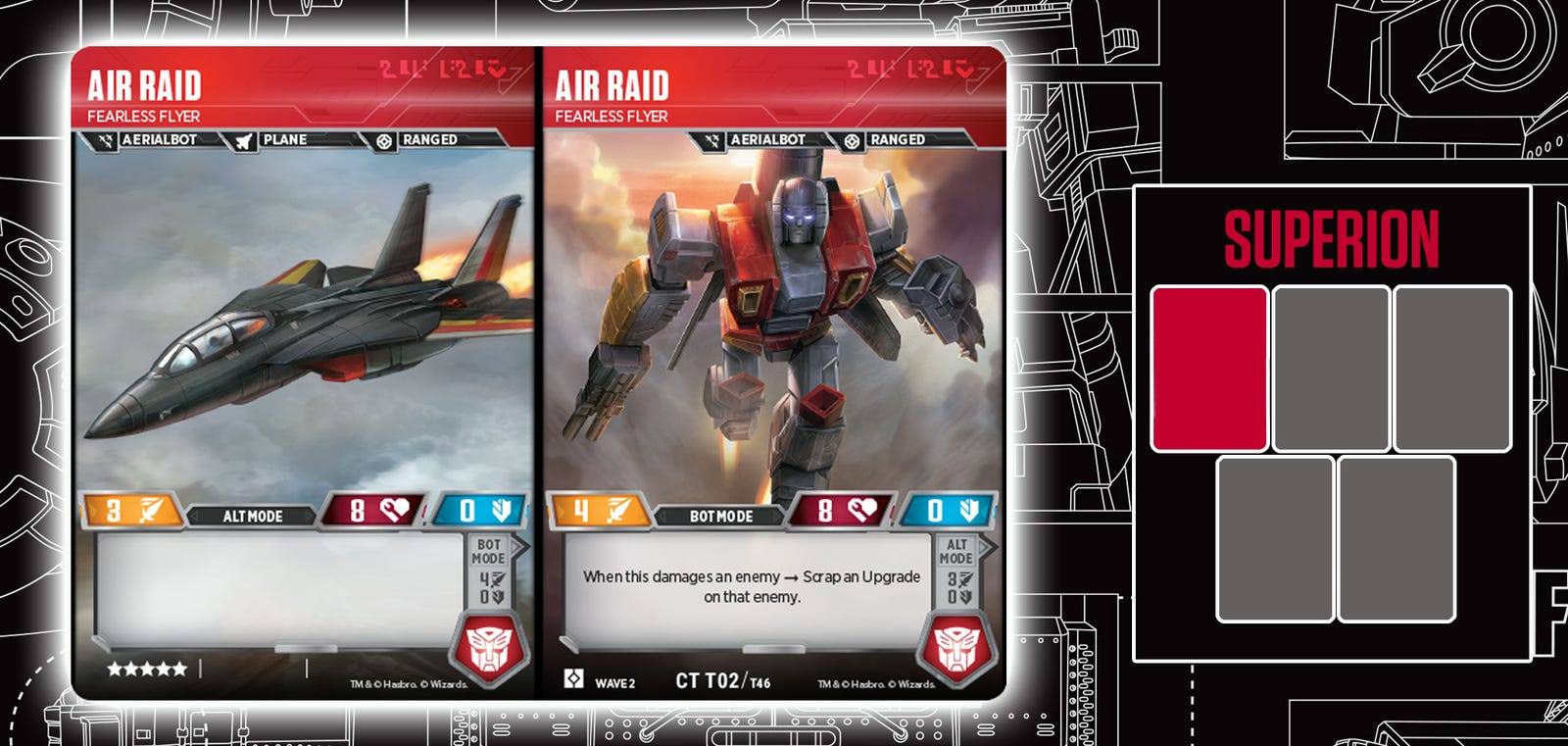 An exclusive look at the Aerialbot cards you'll need to make Superion a part of your team.