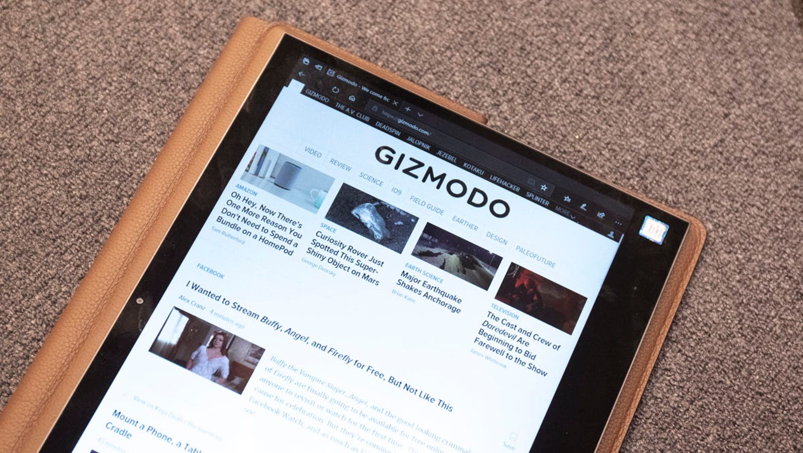 13.3-inches makes for a big tablet, but the large bezel makes for a comfortable grip while reading.