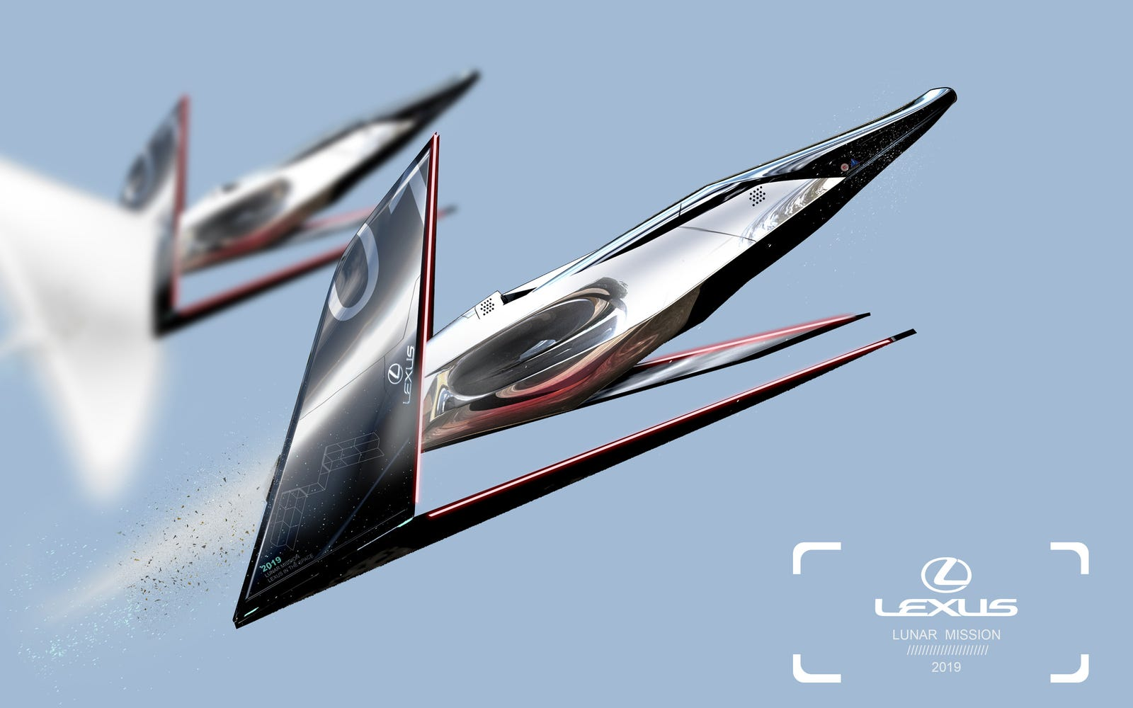 The Lexus Lunar Mission's design integrates a liquid side body, which can reflect the universe while flying toward the moon. The wings are the iconic spindle shape integrated with the Lexus symbol mark as a main geometry.
