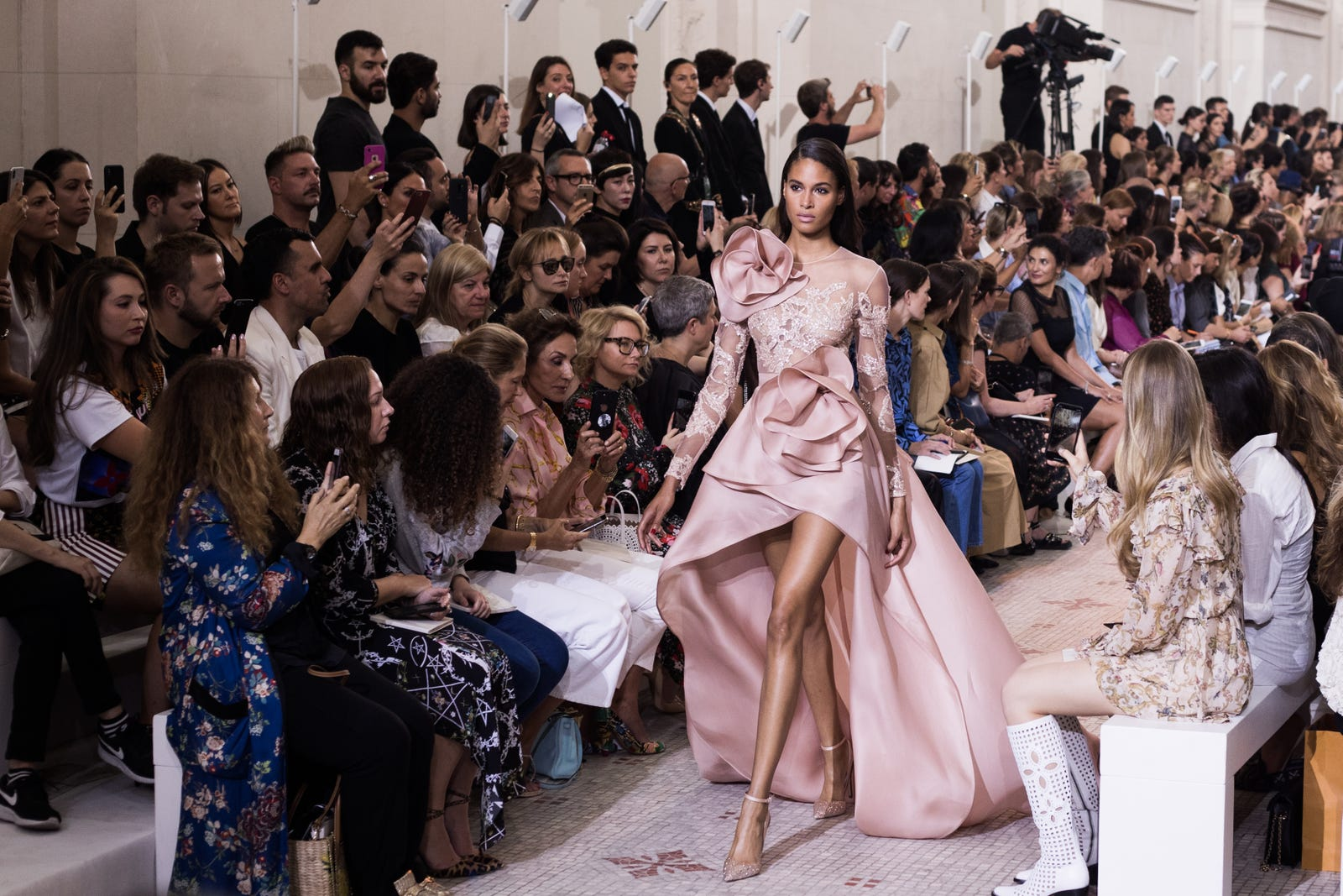 Cindy Bruna walks the runway during the Elie Saab Haute Couture Fall Winter 2018/2019 show as part of Paris Fashion Week on July 4, 2018 in Paris, France.