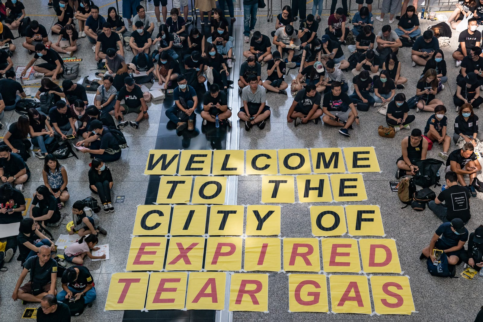 Protesters occupy the arrival hall of the Hong Kong International Airport during a demonstration on August 11, 2019 in Hong Kong, China.