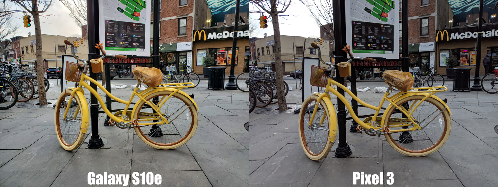 In this head-to-head, the S10e comes out ahead thanks to better details and the background, and the extra pop you get on the yellow bike.