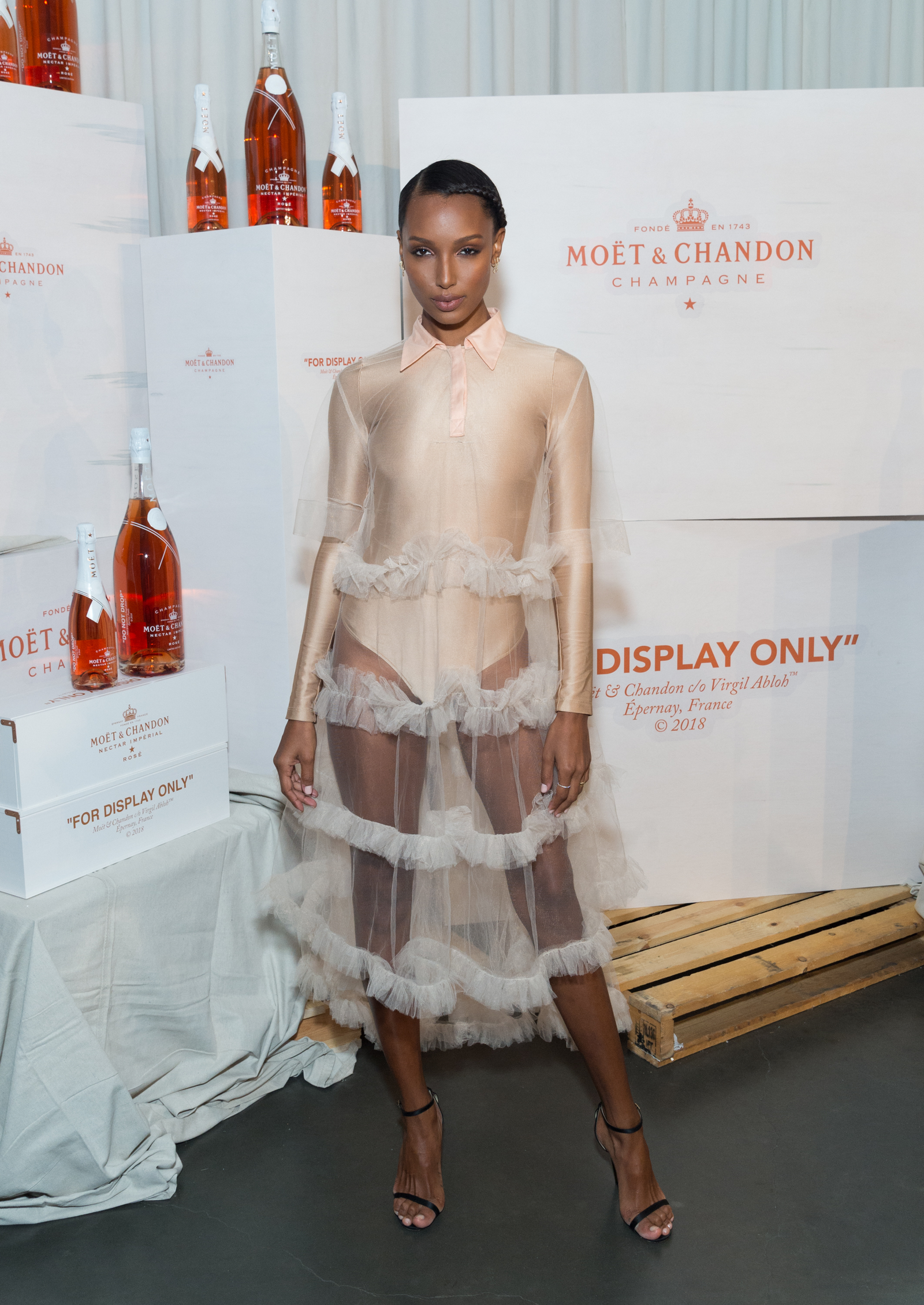 Jasmine Tookes attends Moet & Chandon and Virgil Abloh's New Bottle Collaboration Launch at The New Museum on Oct. 16, 2018 in New York City.