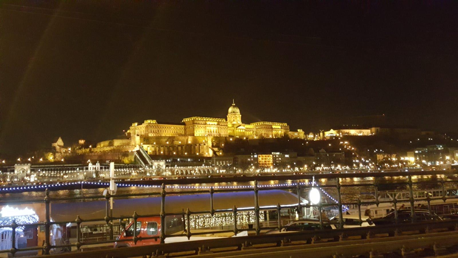 The lights of Buda Castle. Budapest, Hungary, November 2017
