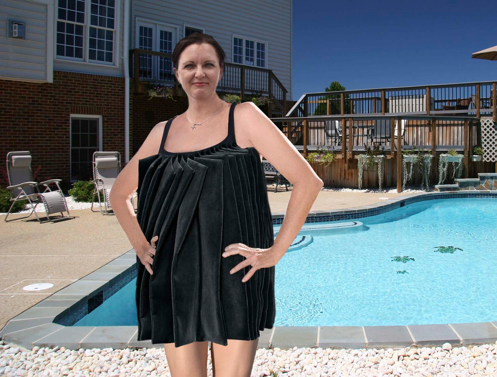Mom's Bathing Suit Just One Giant, Body-Eclipsing Ruffle
