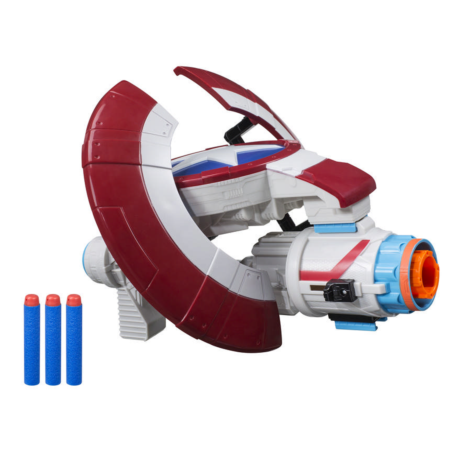 """What if this defensive tool just so happened to be a gun?"" asks the Captain America Nerf Assembler."