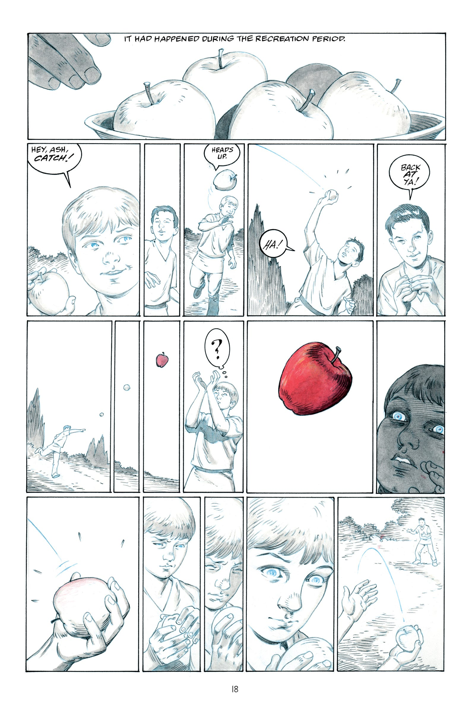 In this exclusive look inside The Giver's graphic novel, Jonas sees the color red for the first time. All images: Houghton Mifflin Harcourt.