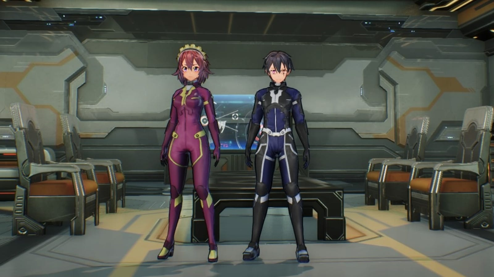Female and male versions of the ArFA-sys Suit. Plugsuit buddies!!