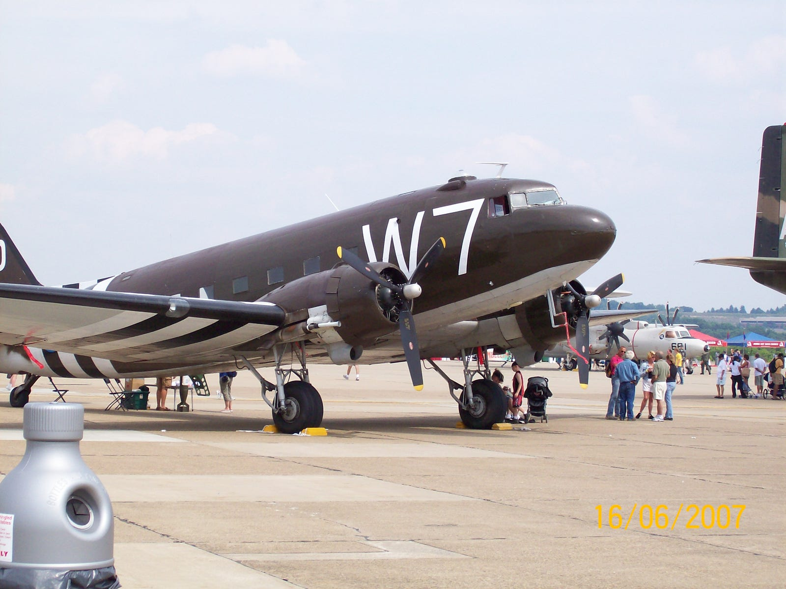 C-47 with invasion stripes
