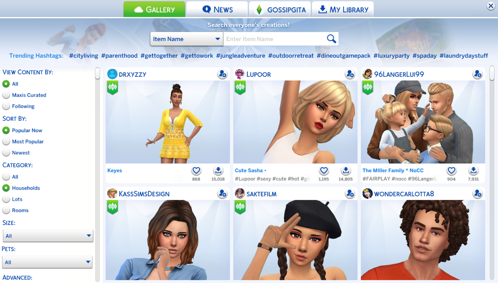 "Here's just a smattering of the Sims in the ""popular now"" category."