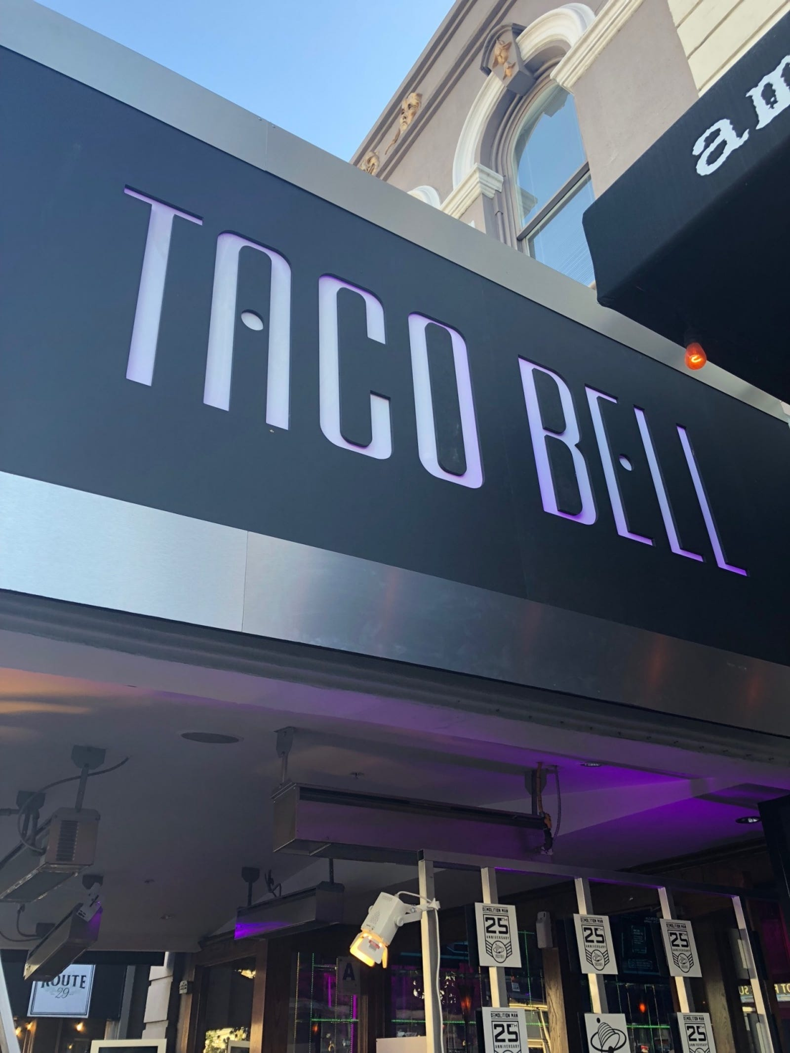The entrance to the Taco Bell of the future looks, well, futuristic.