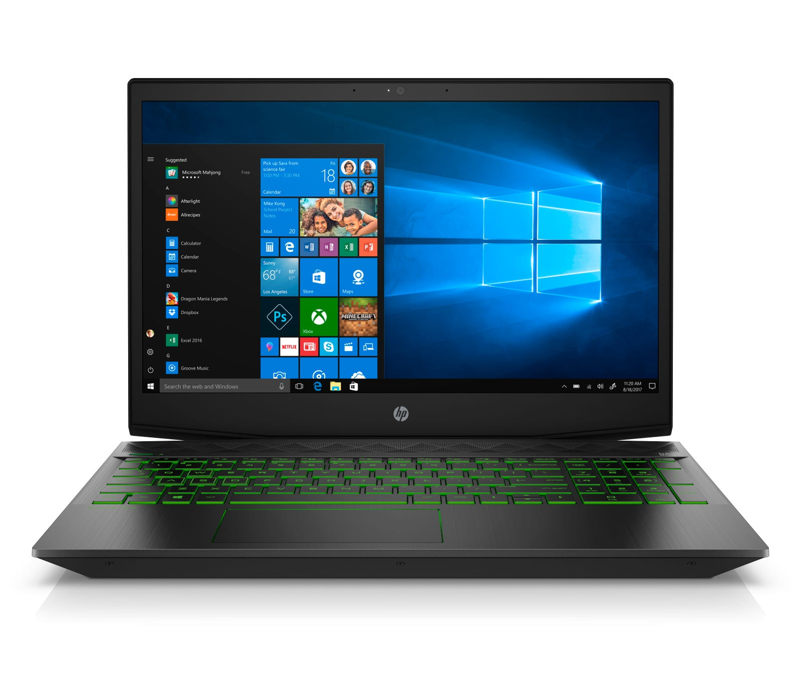 Unlike more expensive gaming laptops, you can't adjust the keyboard's back light. Instead, you'll be able to choose from three colors: green, white, or purple.