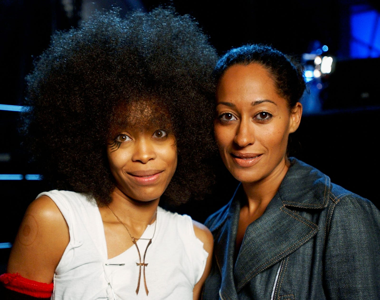 Erykah Badu, (l) and Actress Tracee Ellis Ross (R) at the 2003 Essence Festival on July 3, 2003 in New Orleans, La.