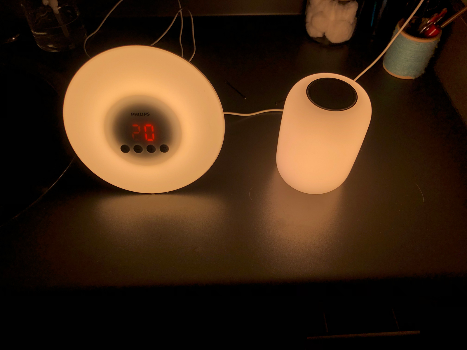 At its brightest, the Casper Glow is just about as bright as my Philips Wake-Up Light, and ever so slightly warmer.